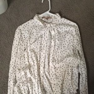 forever 21 white and black dots button up